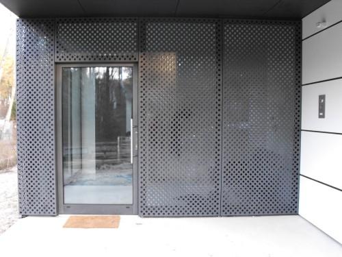 Dom jednorodzinny, drzwi aluminiowe YAWAL TM74, kolor strukturalny